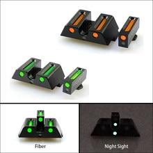 Novo tático de fibra óptica frente e traseira vermelho/ponto verde mira caça visão noturna riflescope para glock