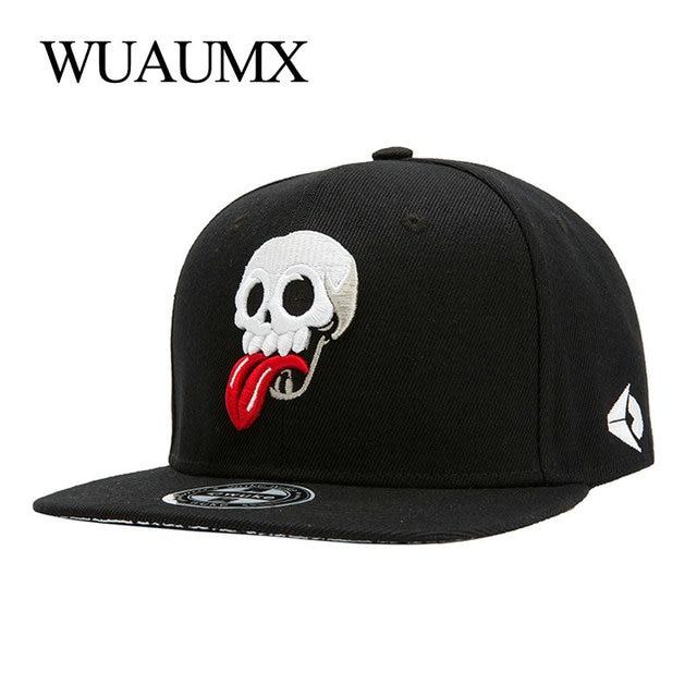 Wuaumx Snapback Caps hombres mujeres cráneo bordado béisbol lengua Hip Hop  gorras para hombre de marca cc1353cce16