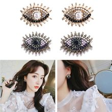 1 PC Creative Crystal Eye Shape Stud Earrings Women Full Rhinestones Fashion Jewelry