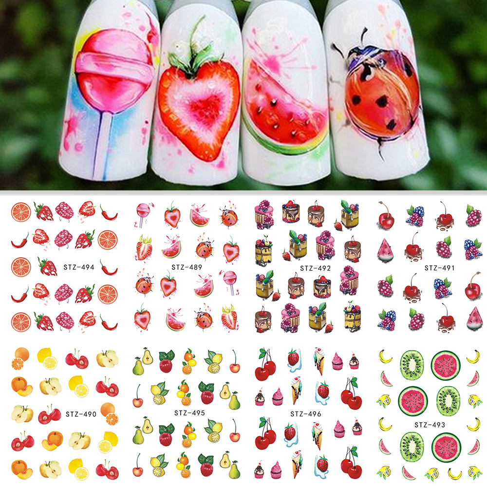Nail Sticker Decals Fruit Cream Cake Cat Decoration Color Tattoo