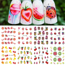 1 Sheet Water Transfer Nail Sticker Decals Fruit Cream Cake Cat Beauty Decoration Designs DIY Color Tattoo Tip SASTZ489-500