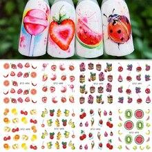 1 Простыни переноса воды ногтей Стикеры наклейки фруктовые кремовый торт кошка Красота украшения конструкции DIY Цвет наконечника sastz489-500