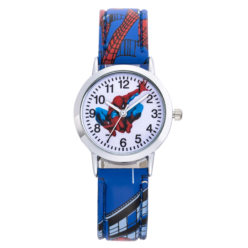Children SpiderMan Watch 2019 New Stylish Kids Cute Cartoon Wristwatch Leather Watchband Casual Students Clock