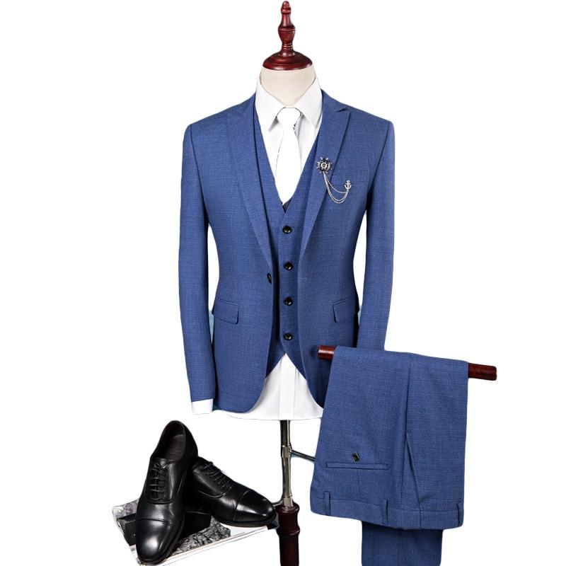 Formal Suit for Men Three Piece Suit Suit+trouser+vest Fashion Coat Slim Wedding Dress Formal Wear Blazer High Quality Gent Life