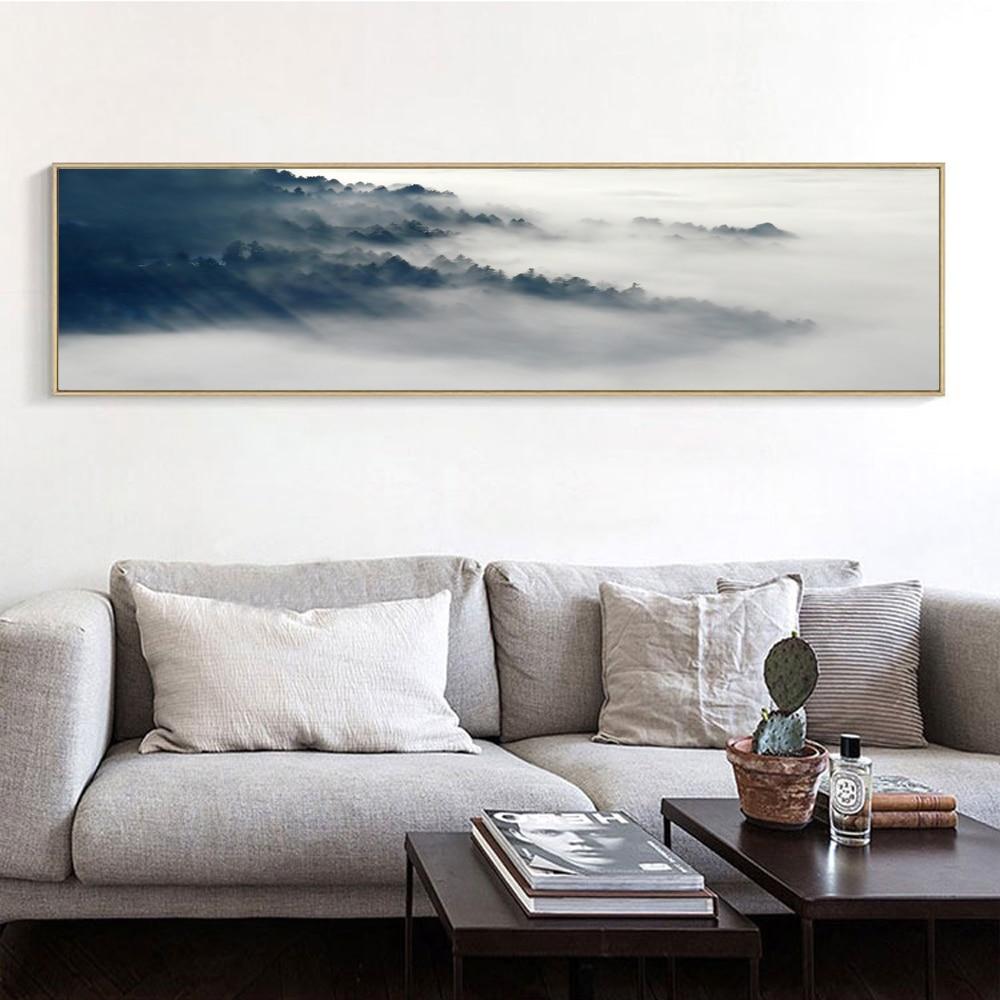 Canvas Art Print Grey Black White Cloud and Mountain ...