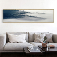 Canvas Art Print Grey Black White Cloud and Mountain Beautiful Scenery Popular Art Canvas Wall Picture Chinese Art Poster LZ586