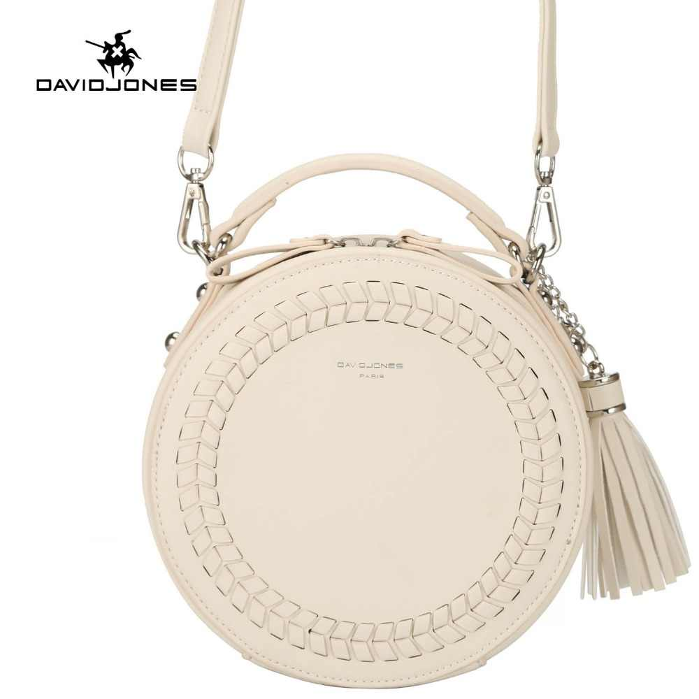 DAVID JONES women messenger bags leather female messenger bags small lady knitting circular bag round girl handbag drop shipping