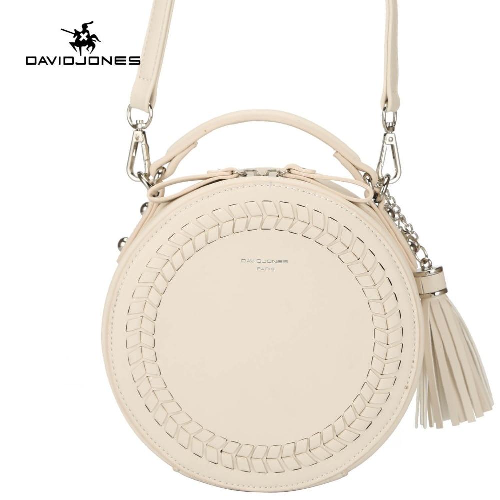 DAVIDJONES women messenger bags leather female messenger bags small lady knitting circular bag round girl  handbag drop shipping handbag