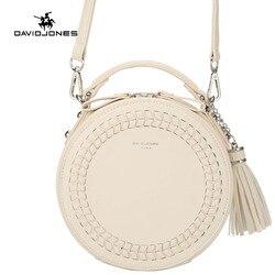 David jones mulheres mensageiro sacos de couro feminino mensageiro sacos pequena senhora tricô circular saco redondo menina bolsa transporte da gota
