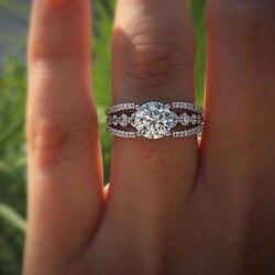 Moda basit nişan yüzüğü kakma beyaz zirkon zarif şık gümüş renk kadın yüzükler gelin düğün parti takı Anillos