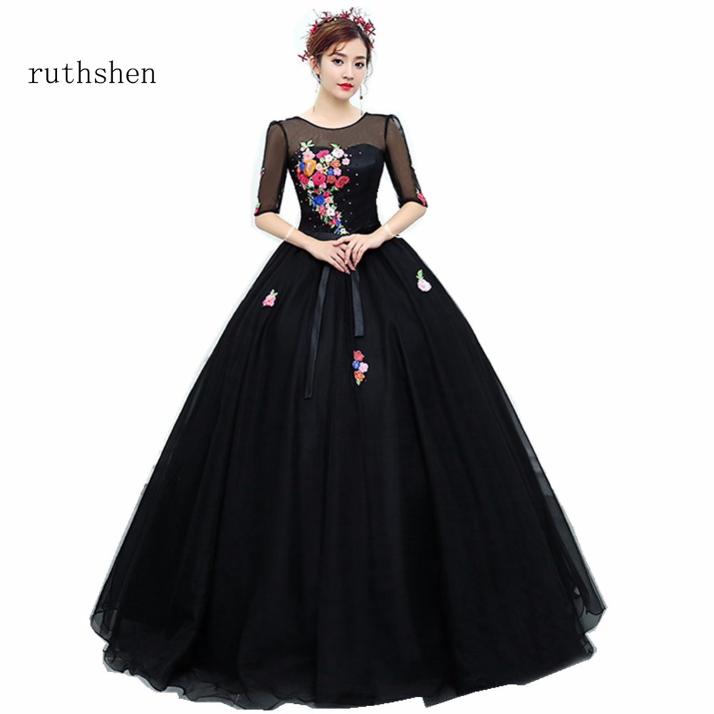 ruthshen Black   Prom     Dresses   2018 New Cheap Ball Gown Half Sleeves Embroidery Floral Formal Evening Gowns For Womens Real Photo