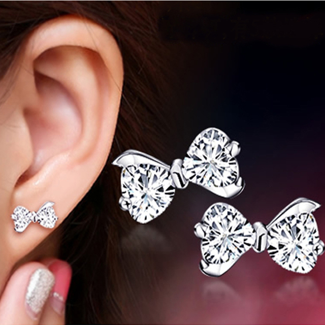 2018 New Simple Style Double Crystal Bow Design Stud Earrings Silver Plated Women Ear Jewelry