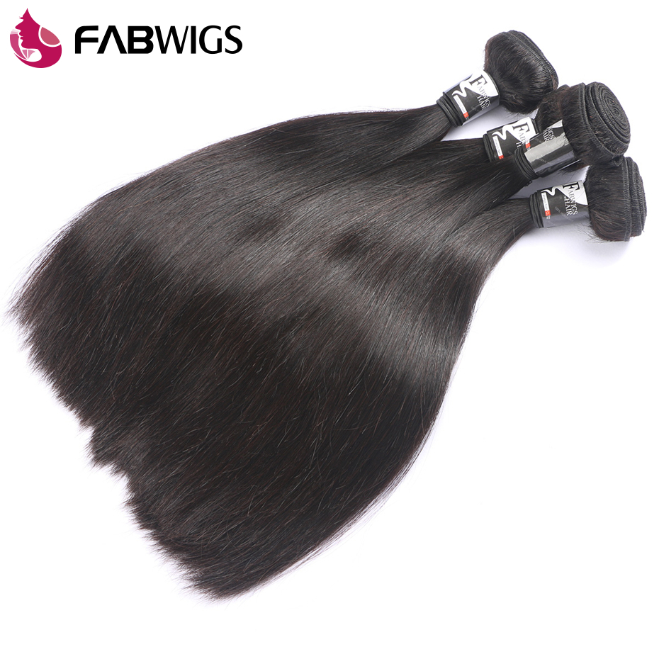 Fabwigs Hair Brazilian Straight Hair Weave Bundles Natural Color 3 Bundles Human Remy Hair Weave Extension Freeshipping-in 3/4 Bundles from Hair Extensions & Wigs    2