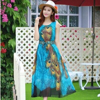 Bohemia Summer Style Blue Peacock Feather Printed Women Chiffon Dresses 6XL 5XL  Plus Size Boho Beach Maxi Dress Long Sundress 7ec2e0f31cd9
