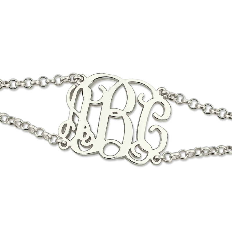 Aliexpress Ailin Sterling Silver Monogram Bracelet With Double Chain Initial For Women Best Gift Friends From Reliable