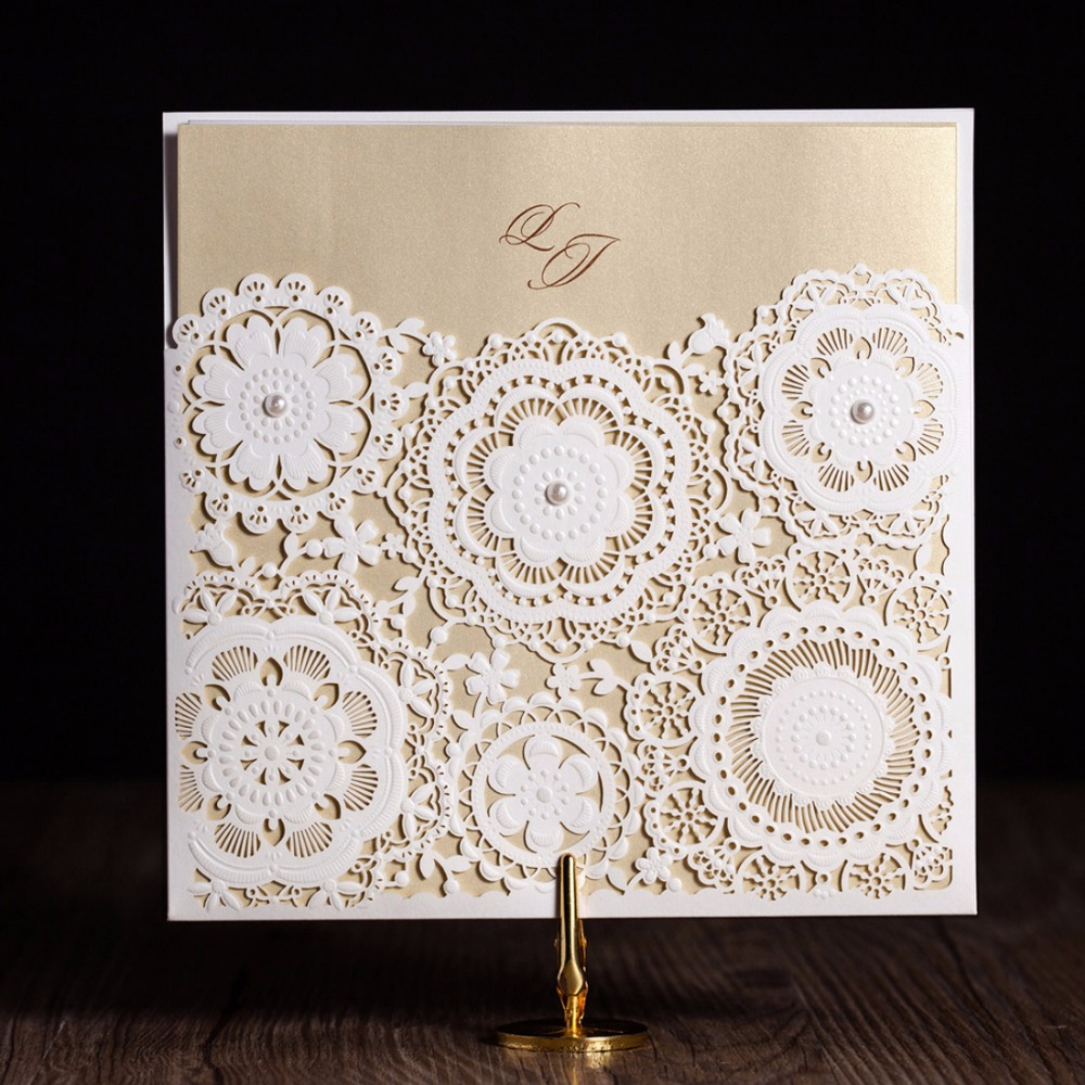 Laser Cut Wedding Invitations Kits Flower Elegant Paper Cardstock With  Pearly Baby Birthday Cards For Party