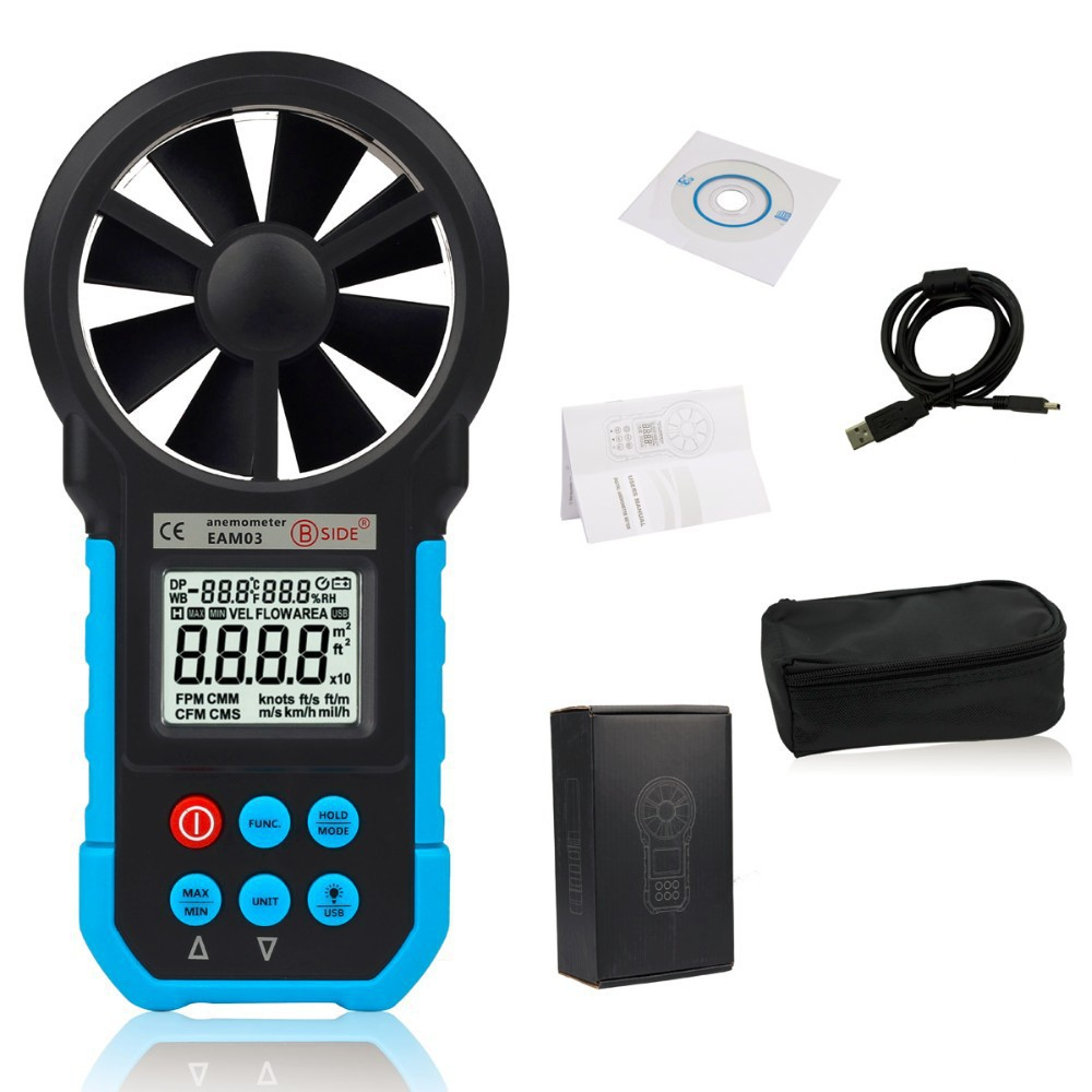 Bside EAM03 Digital Anemometer Wind Speed Meter Anemometro Air Flow Temperature Humidity Tester & USB Real Time Data  цены