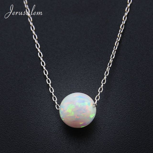 Round beadsball opal pendant necklace 925 sterling silver chain round beadsball opal pendant necklace 925 sterling silver chain necklaces natural stone opal collares aloadofball Images
