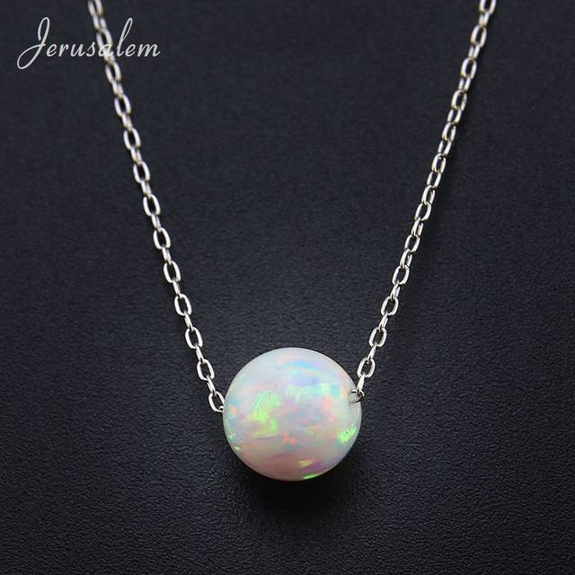 Online shop round beadsball opal pendant necklace 925 sterling round beadsball opal pendant necklace 925 sterling silver chain necklaces natural stone opal collares women jewelry bijoux gift aloadofball Choice Image