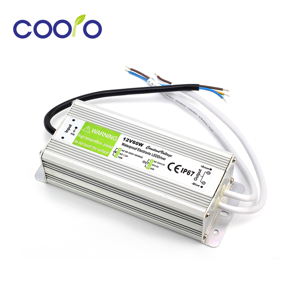 Waterproof IP67 LED Driver 5A 60W Power Supply DC 12v Power Supply Unit Lighting Transformer for LED Strip Light led driver transformer waterproof switching power supply adapter ac170 260v to dc48v 200w waterproof outdoor ip67 led strip