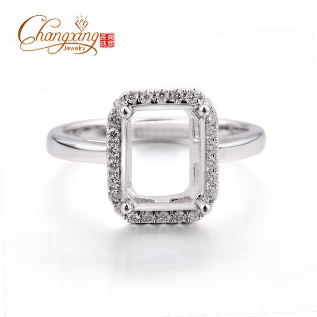 7x9mm Emerald Cut Real 14 k Oro Allanar Diamantes Corte Completo Semi Montaje Ajustes Del Anillo