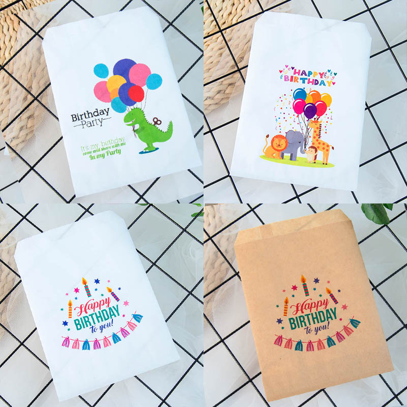 25pcs Kraft Paper Happy Birthday Treat Favor Bags For Children's Birthday Party Decorations Candy Popcorn Buffet Gift Bag