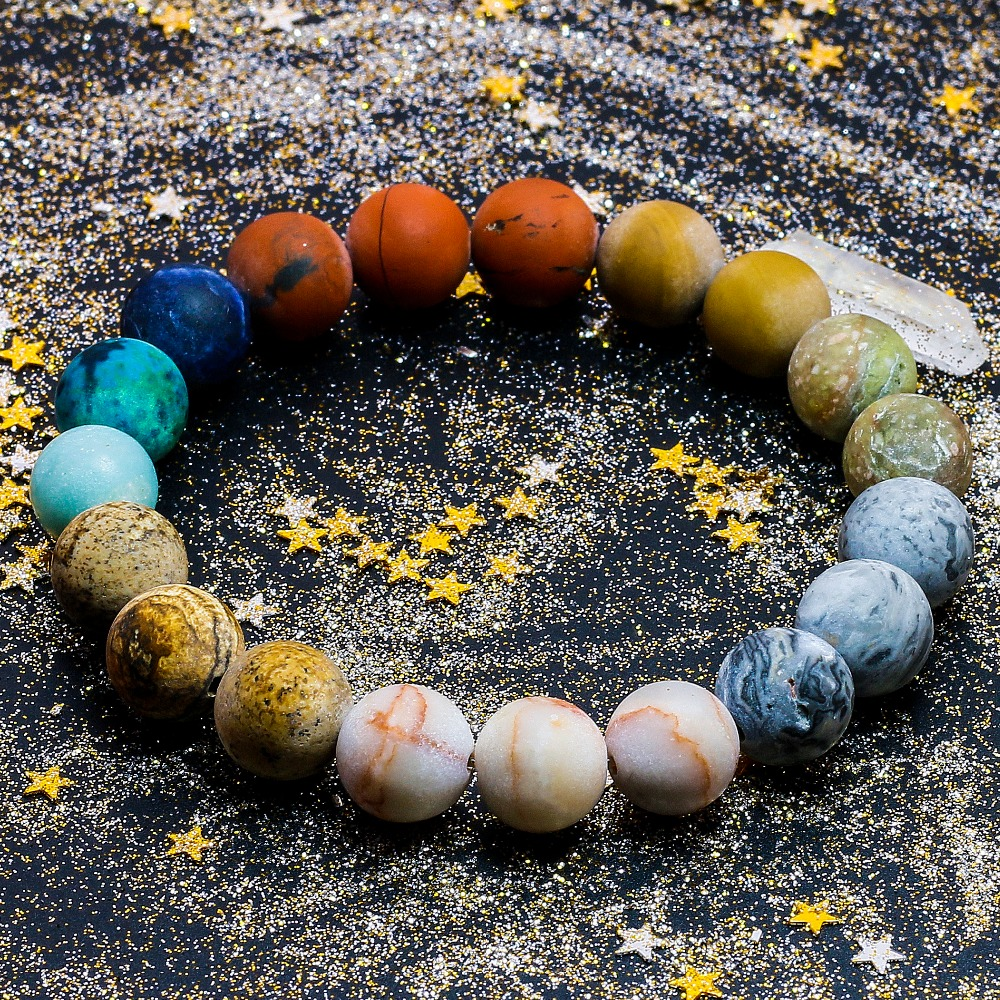 Universe Premium Space Planets Solar System Natural Stone Beads Bracelet