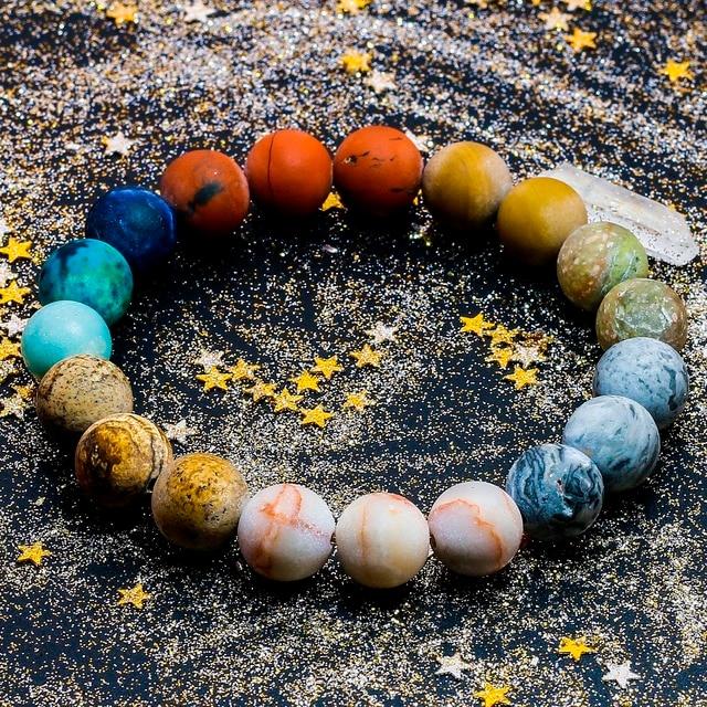 Universe Premium Space Planets Solar System Natural Stone Beads Bracelet