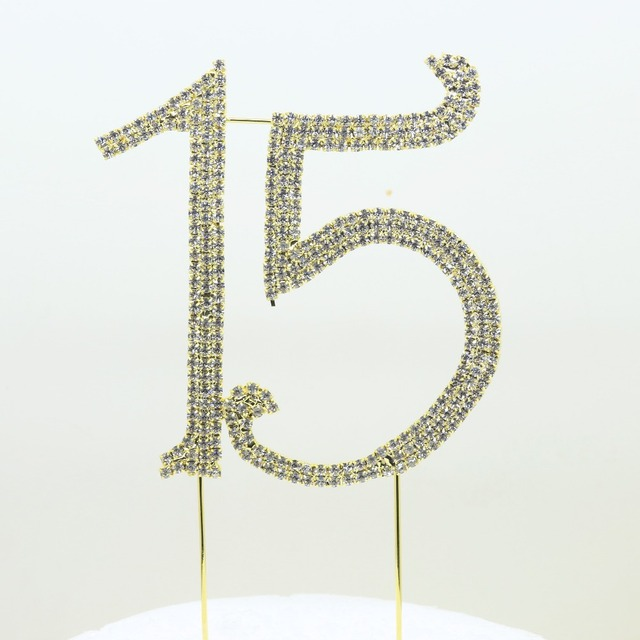 Bruiloft 1pcs Pack 15th Rhinestone Cake Diy Topper Party Supplies Wholesale For Birthday Decorations Anniversary Free Shipping