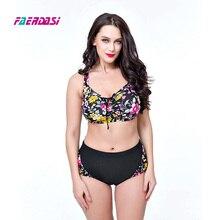 Women Bandage Bikini set Floral print Bathing suit Plus size Swimsuit Women Retro Vintage Swimwear Beachwear Monokini