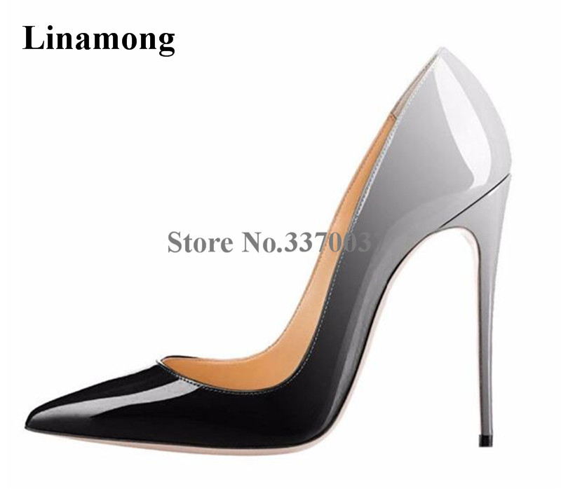 Women Classical Style Pointed Toe Patent Leather Gradient Color Pumps Cheap Formal Basic Super 12cm High Heels Dress Shoes women classical design silver pointed toe transparent pumps ankle buckle design 12cm high heels formal dress shoes