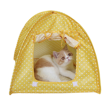Foldable Dog Bed Pet House Cute Print Strawberry Cave Cute Dot Dog Beds Kennel Nest Fleece Cat Tent Dog House XP0426