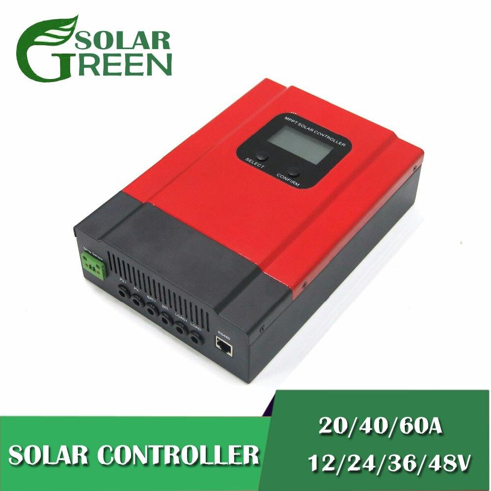 20A 40A 60A MPPT contrôleur de Charge solaire 12 V 24 V 36 V 48 V Auto LCD affichage scellé Gel Nicd Li batterie de charge