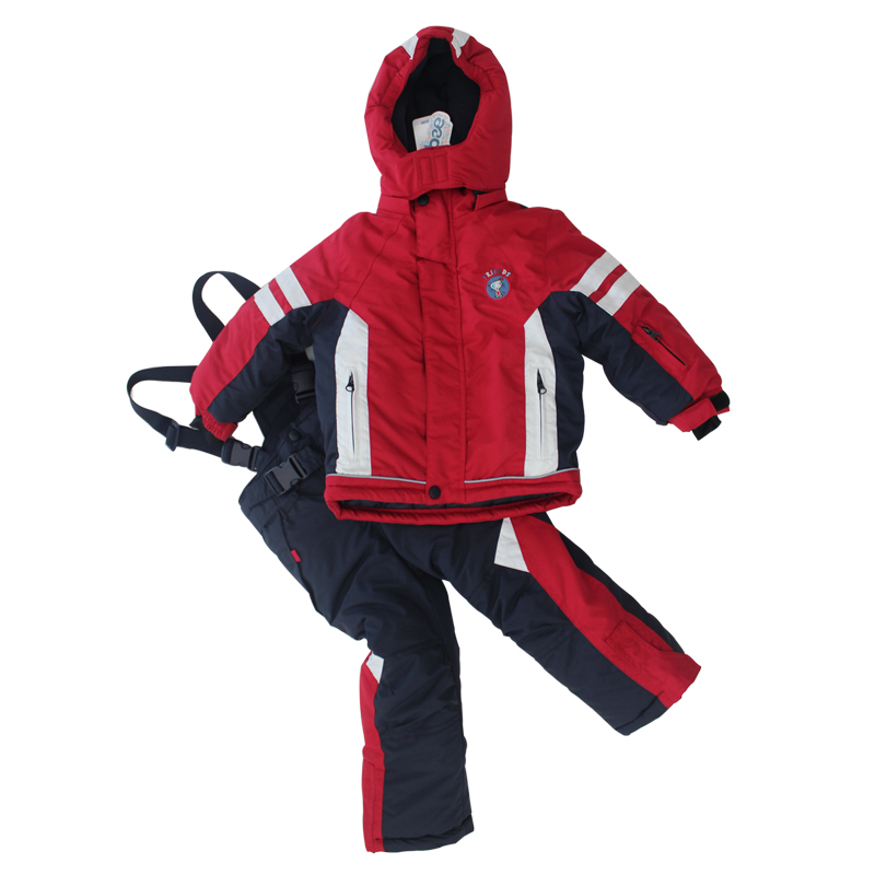 ФОТО 2017 Winter Boys Ski Sets Windproof Red Jacket Pants 2 Pieces Tracksuits for Children Waterproof Warm Kids Snow Ski Suits