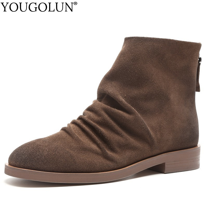 Cow Suede Ankle Boots Women Autumn Winter Elegant Ladies Low Heels A254 Fashion Woman Black Brown Zipper Design Riding Boots in Ankle Boots from Shoes