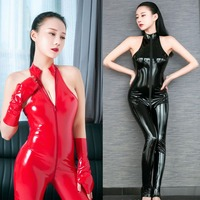 Wetlook PVC Catsuit Zipper Open Crotch Bodysuit Shiny Bodystocking Sexy Hot Erotic Pole Dance Clubwear Babydoll One Piece Wear