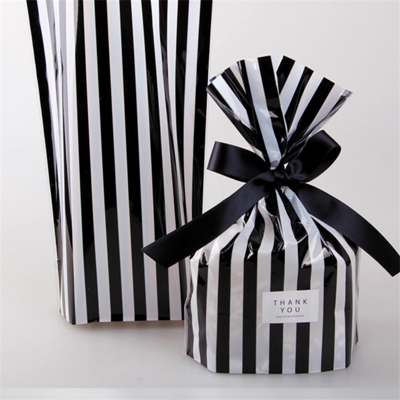 10pcs Bow Stripe Dragee Black Box Gift Bags Wedding Candy Biscuits Snack Baking Package Plastic Packaging Event Party Supplies