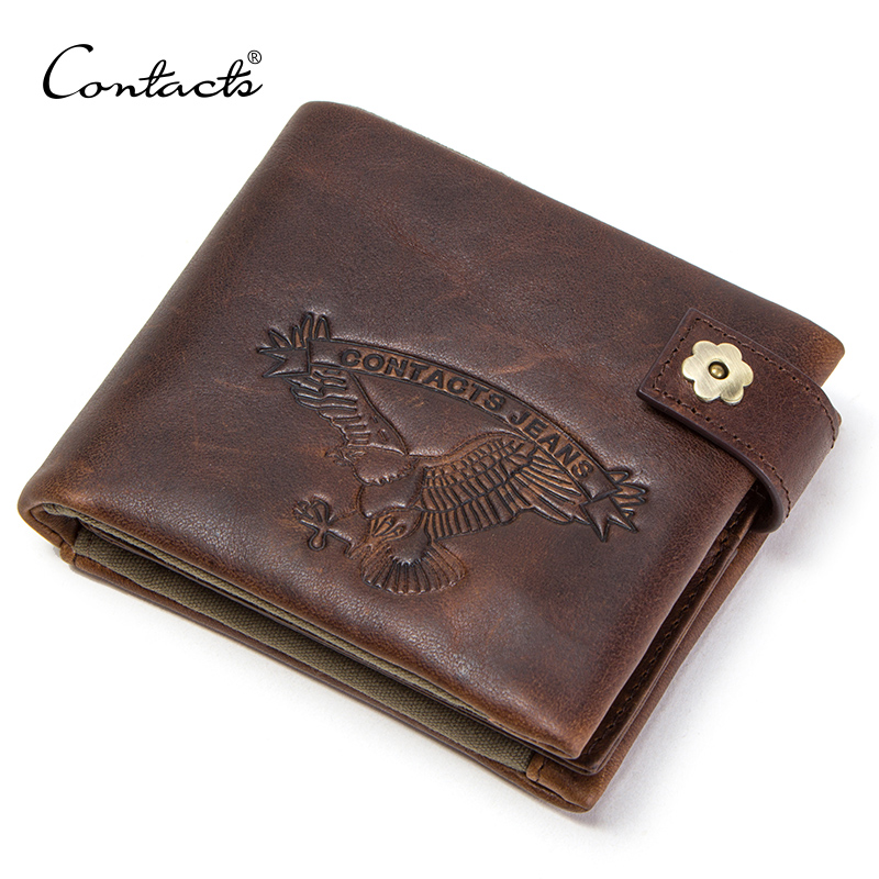 CONTACT'S 100% Cowhide Wallets Men Small Walet with Coin Pocket Portfolio Male Portomonee Crazy Horse Leather Purse Card Holders 2018 men wallets contact s brand design crazy horse cowhide leather male clutch wallets coin purse photo holder card holders
