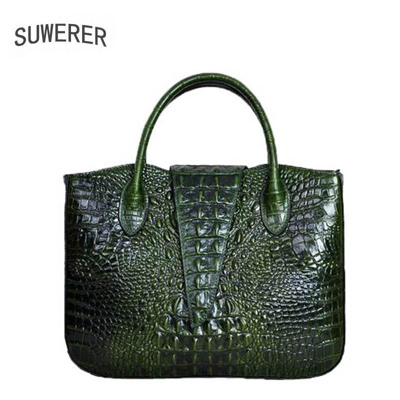 SUWERER Superior cowhide genuine leather women handbags Crocodile pattern luxury handbags women bags designer leather women bag цена