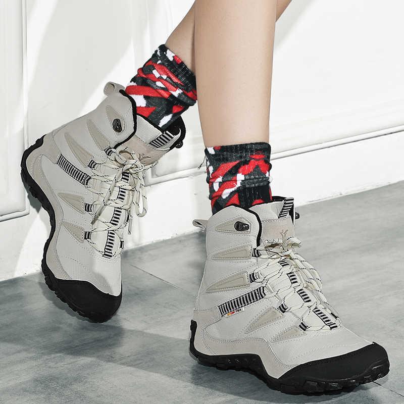 XIANG GUAN высокие зимние сапоги для влюбленных черные и белые треккинговые ботинки Брендовые мужские кроссовки на шнуровке для альпинизма
