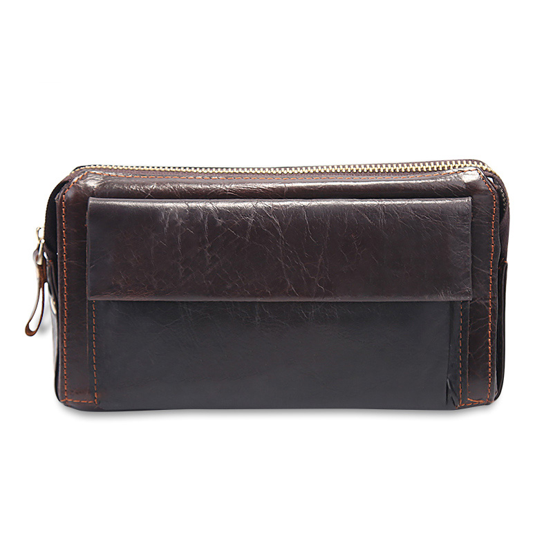 New Brand Men's Clutch Bags Genuine Leather Men Purses Large Capacity Zipper Long Men Card Holder Phone Wallets banlosen brand men wallets double zipper vintage genuine leather clutch wallets male purses large capacity men s wallet