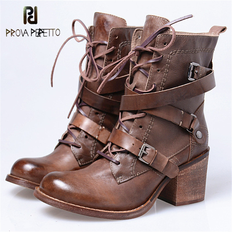 Prova Perfetto New Arrival Winter Grace Round Toe Genuine Leather Buckle Strap Boots Warm Fashion Lace Up Chunky High Heel Boot prova perfetto british style elegant sheep genuine leather ankle buckle hollow out flower boots back strap chunky high heel boot