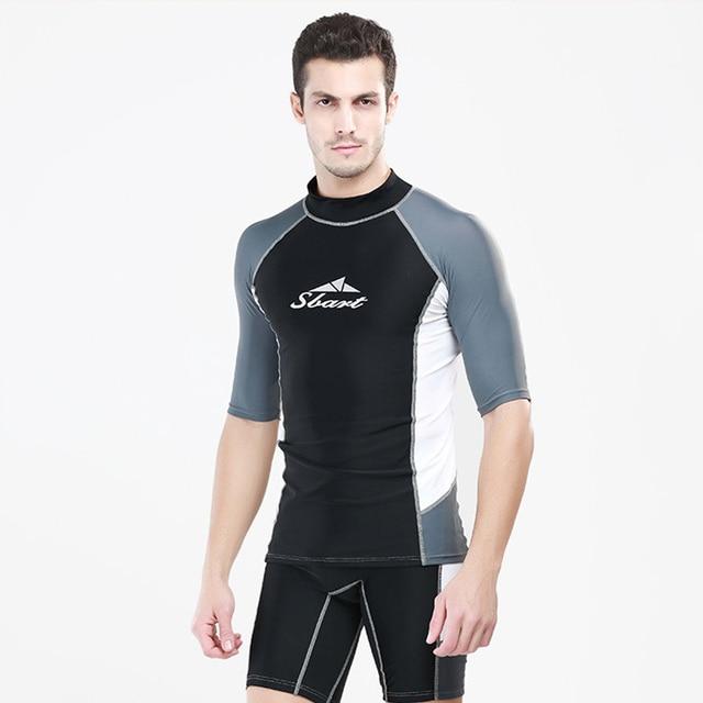 b2bd27a2470f € 10.92 25% de DESCUENTO|Verano manga corta surf camiseta y natación  pantalones cortos hombres protección solar traje de baño Rash Guard hombre  ...