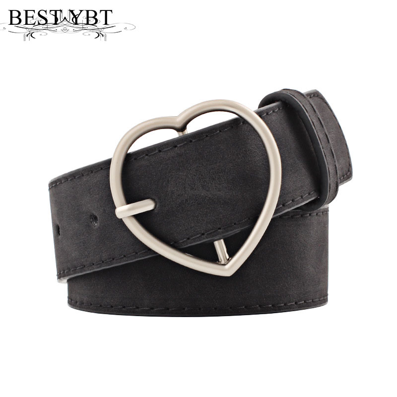 Best YBT Women Belt Metal Heart Buckle Corset Wide Waist For Woman Black Quality PU Pin Belt For Dress Jeans Female Belt
