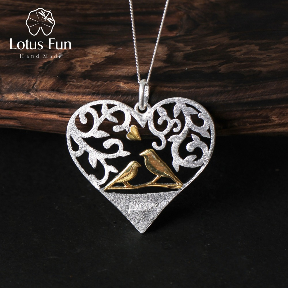 Lotus Fun Real 925 Sterling Silver Handmade Fine Jewelry Romantic Bird in Love Heart Shape Pendant without Chain for Women love heart opening wings shape sweater chain