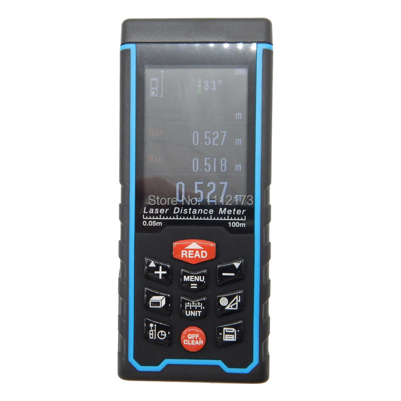 ФОТО SW-S100 100m Color display Rechargeable baatery Laser distance meter Rangefinder Tape with Bubble Level measure Area/Volume Tool