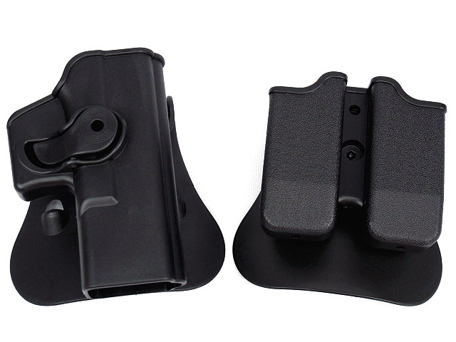 Style Tactical GLOCK 17/19 RH Pistol & Magazine Paddle Holster Black Tan