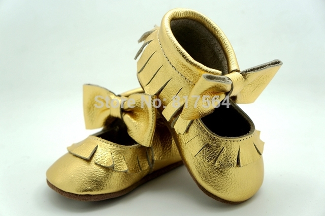Gold with bow Genuine Cow Leather Baby Moccasins Soft Moccs Baby Shoes Newborn Baby firstwalker Anti-slip Infant Shoes Footwear