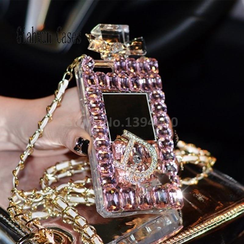 imágenes para Lanyard Cadena de bling del Diamante Cristalino de TPU de la contraportada Para Samsung Galaxy S8Edge/S8Plus caja del teléfono de 6.2 Pulgadas