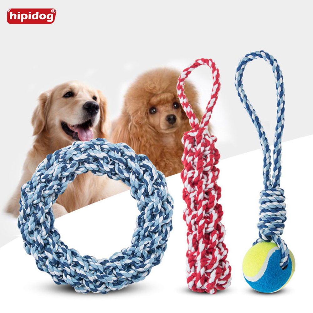 Hipidog Pet Toys Knitting Multicolor Cotton Rope Toy Dog Bite Molar Tooth Cleaning Chewy Training for Labrador